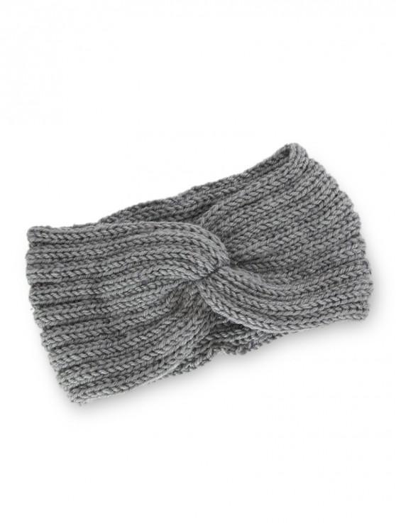 針織辮子結彈性頭帶 - 淺灰