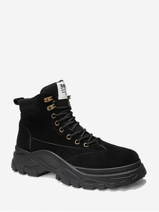 womens Lace Up Platform Cargo Short Boots - BLACK EU 42