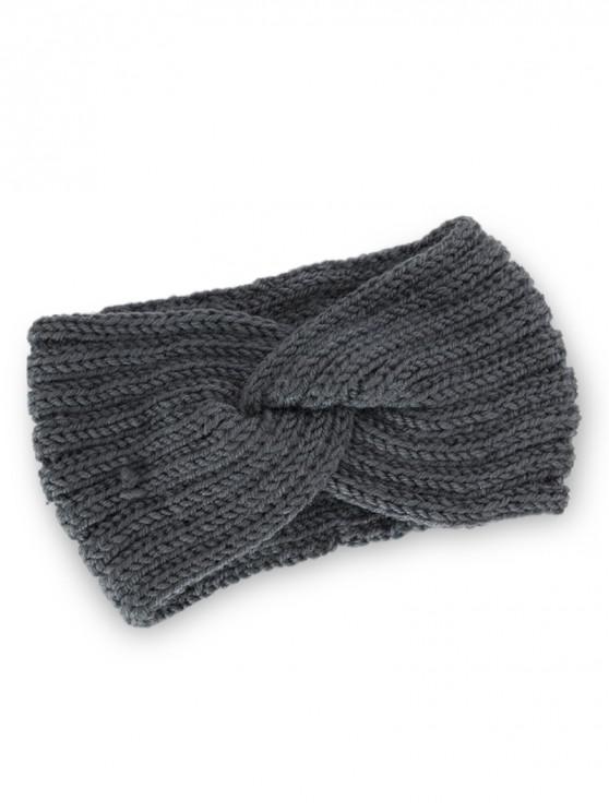 women Knitted Braid Knot Elastic Headband - DARK GRAY