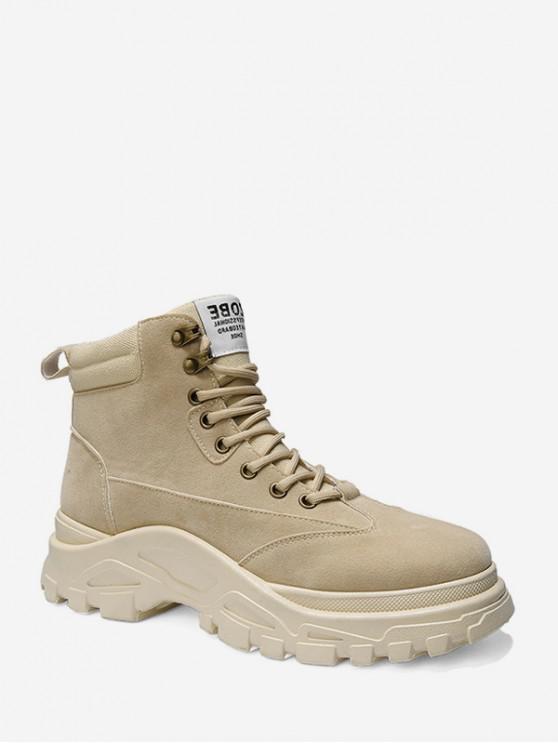 outfits Lace Up Platform Cargo Short Boots - BEIGE EU 39