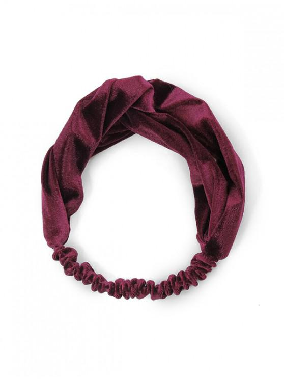 shops Retro Solid Velour Elastic Headband - RED WINE
