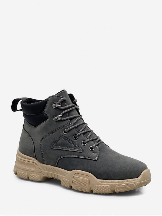 fancy High Top Lace Up Cargo Shoes - GRAY EU 44