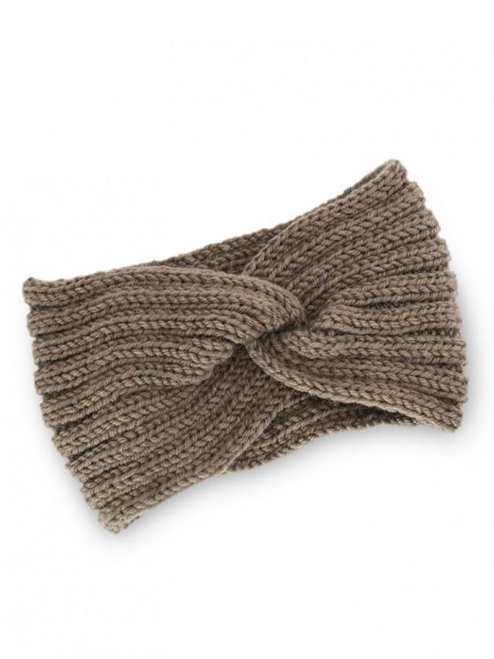 affordable Knitted Braid Knot Elastic Headband - COFFEE