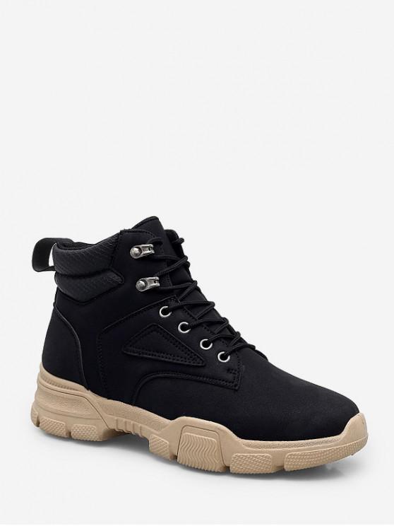 womens High Top Lace Up Cargo Shoes - BLACK EU 44