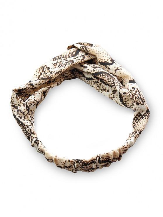 shops Snakeskin Pattern Fabric Cross Elastic Headband - LIGHT BROWN
