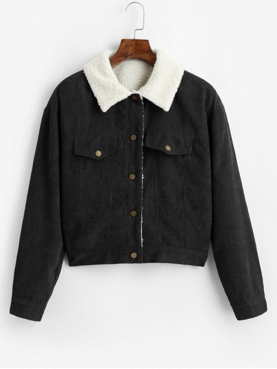trendy ZAFUL Fuzzy Corduroy Jacket - BLACK S