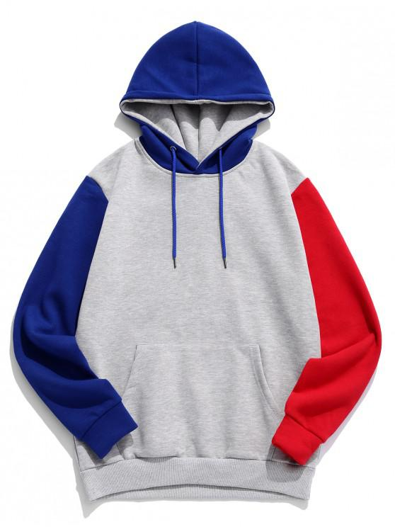 chic Color Spliced Pocket Hoodie - BLUE 2XL