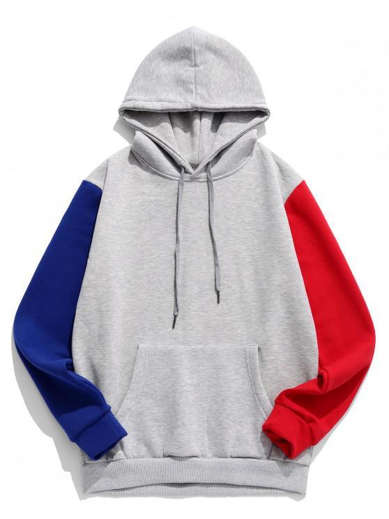 sale Color Spliced Pocket Hoodie - GRAY CLOUD 2XL