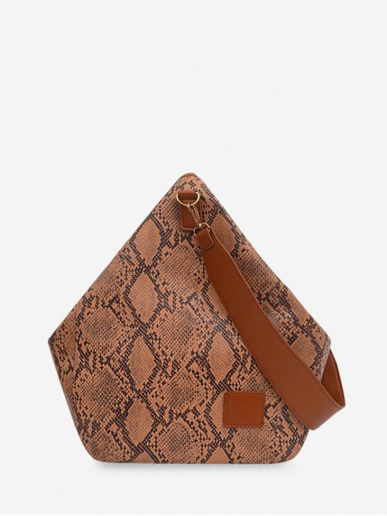 new Snakeskin Pattern Water Drop Shape Shoulder Bag - BROWN
