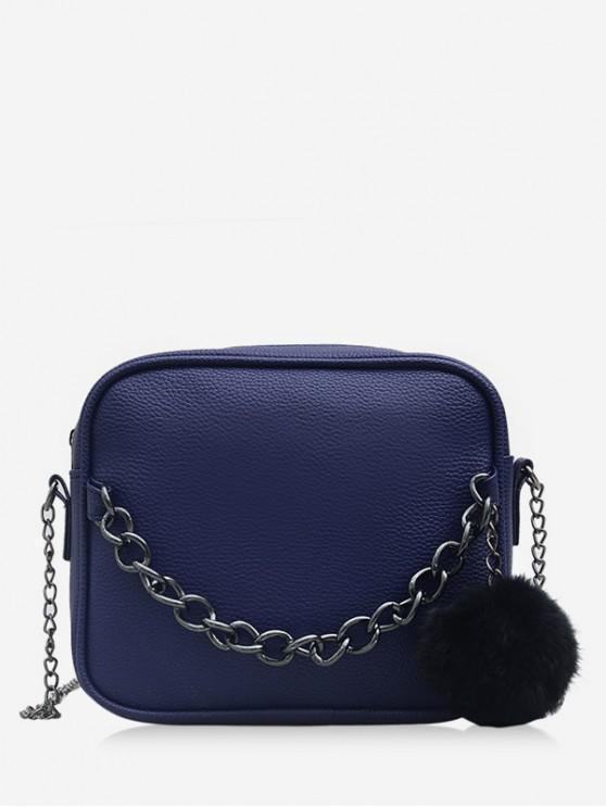 hot Chain Fluffy Ball Zipper Mini Crossbody Bag - DARK SLATE BLUE