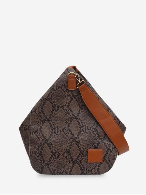 Bolso de hombro con forma de gota de agua con diseño de piel de serpiente - Marrón Oscuro