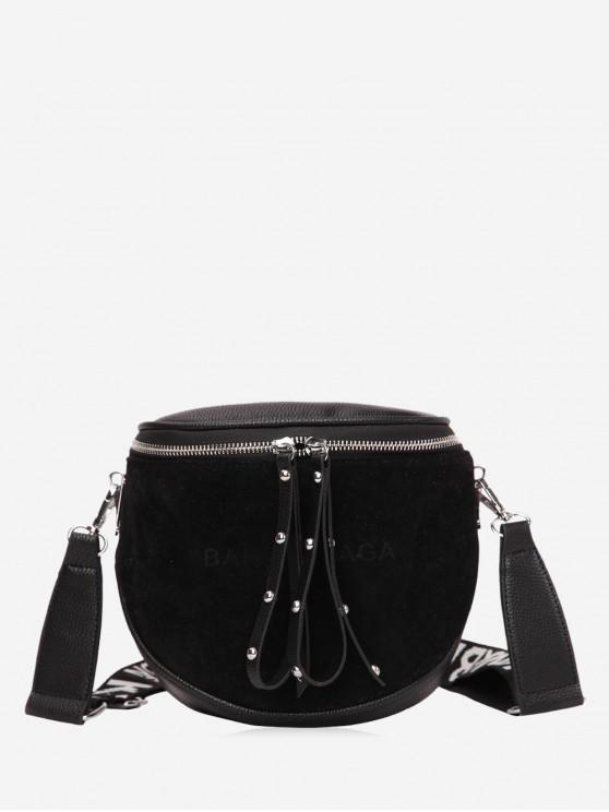 outfits Chic Rivet Decoration Crossbody Bag - BLACK