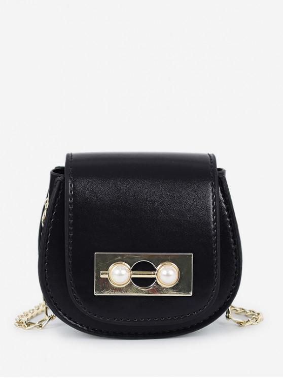 trendy Chic Faux Pearl Decoration Crossbody Bag - BLACK