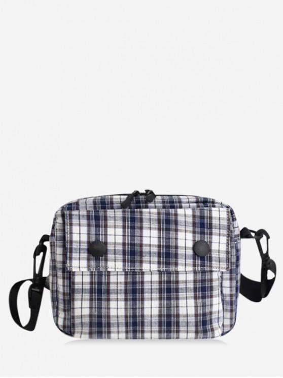 fashion Stylish Plaid Pattern Crossbody Bag - BLACK