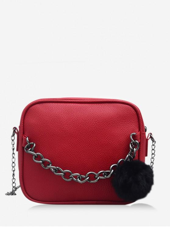 fancy Chain Fluffy Ball Zipper Mini Crossbody Bag - LAVA RED