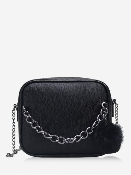 unique Chain Fluffy Ball Zipper Mini Crossbody Bag - BLACK
