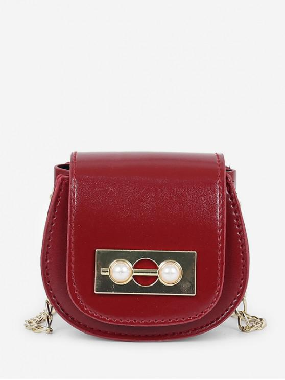 sale Chic Faux Pearl Decoration Crossbody Bag - RED WINE