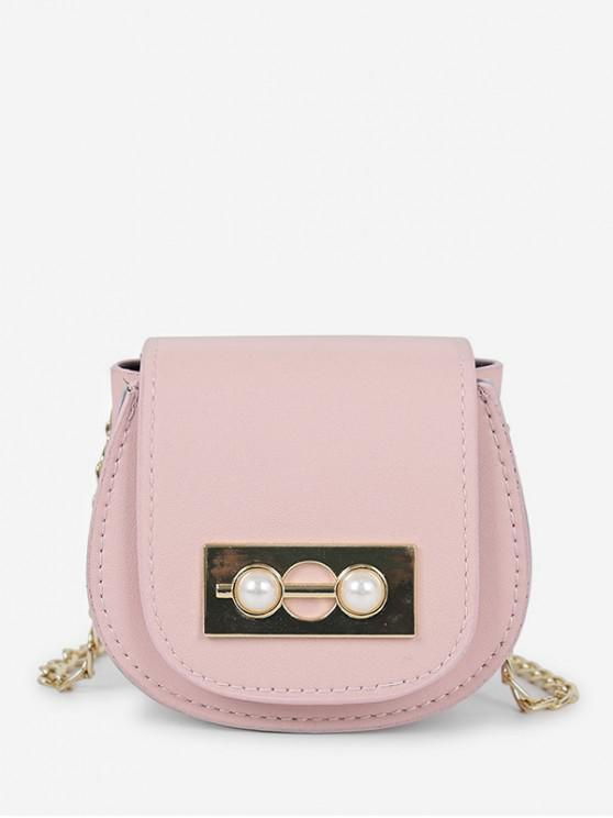 affordable Chic Faux Pearl Decoration Crossbody Bag - PIG PINK