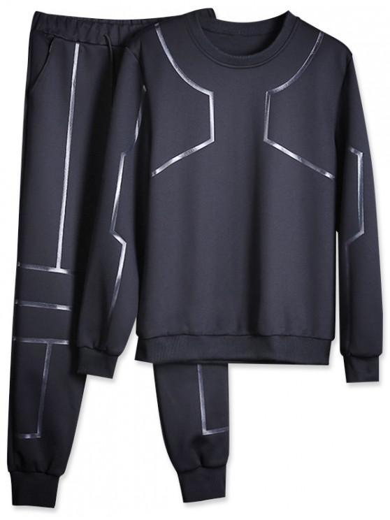 ladies Line Print Gym Sweatshirt And Jogger Pants Set - BLACK XS