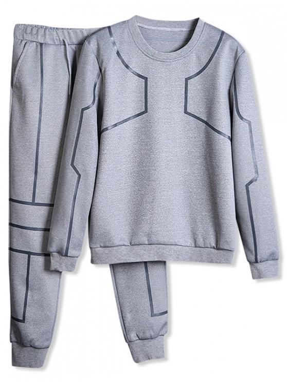 online Line Print Gym Sweatshirt And Jogger Pants Set - LIGHT GRAY XS