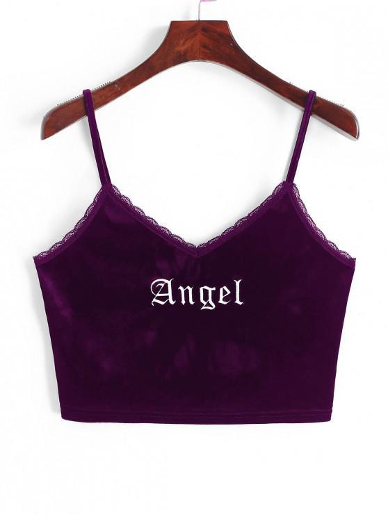 women ZAFUL Angel Embroidery Lace Trim Velvet Top - PLUM VELVET XL