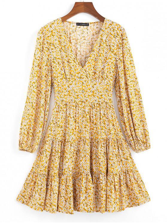 Vestido hundido con dobladillo flip y estampado Ditsy de ZAFUL - Amarilla de Abeja  M