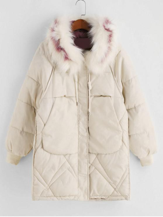 outfits Zip Up Fur Collar Pockets Parka Coat - WHITE 3XL