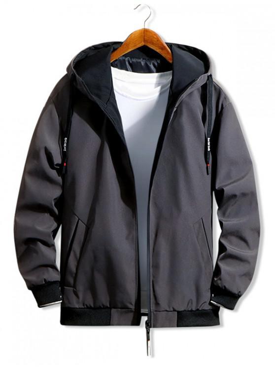 shops Casual Color Spliced Zip Up Hooded Jacket - BLACK L