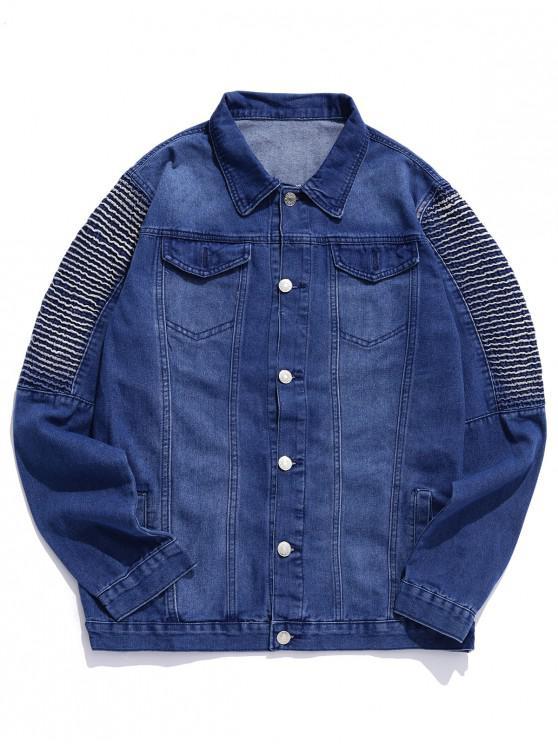 Повседневная Джинсовая Куртка Карман для украшения - Джинсовый темно-синий 2XL