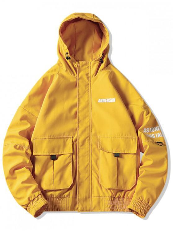 Принт буквы Карман для украшения Куртка С капюшоном - Жёлтый M