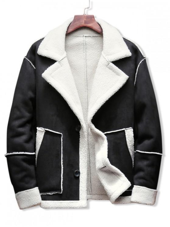 outfits Contrast Color Spliced Faux Fur Casual Jacket - BLACK M