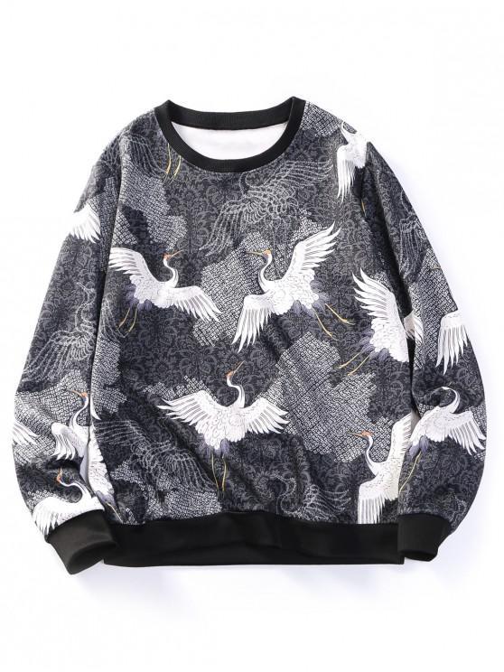 online Flying Crane Floral Print Contrast Hem Sweatshirt - BLACK 2XL