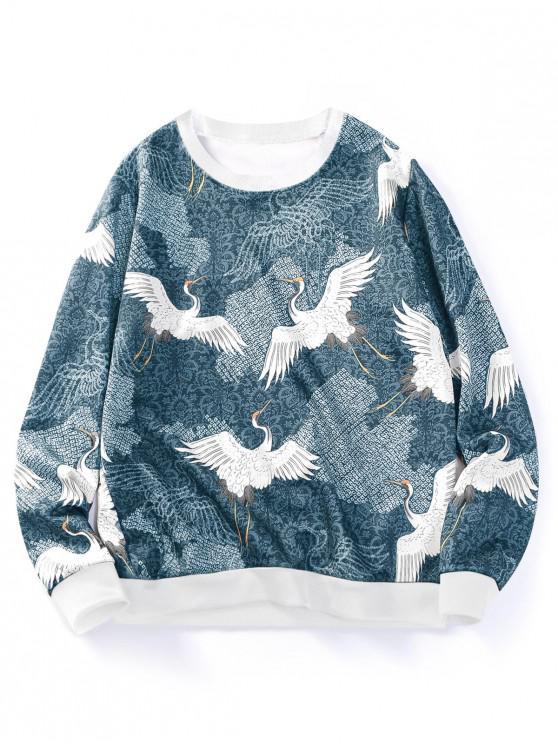 online Flying Crane Floral Print Contrast Hem Sweatshirt - LIGHT BLUE XS