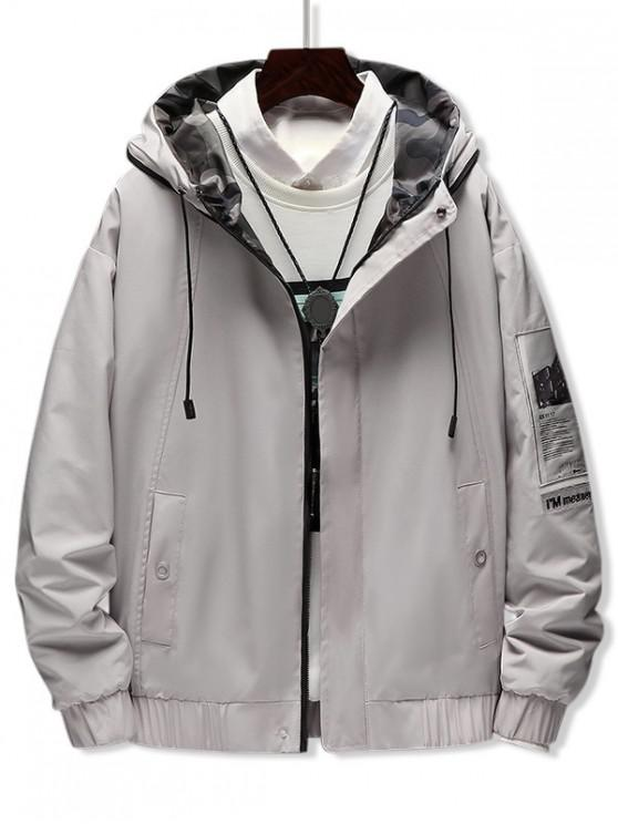 trendy Casual Letter Pattern Zip Up Hooded Jacket - GRAY GOOSE S
