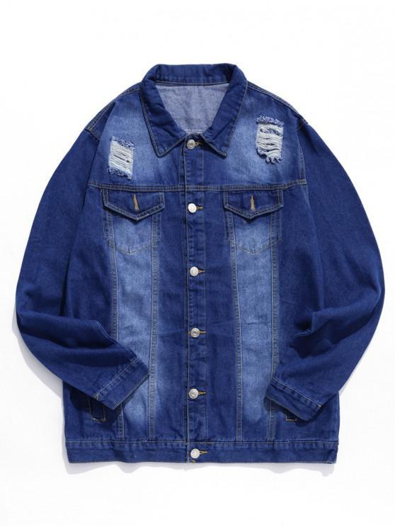 Рваный дизайн Пуговицы Джинсовая Куртка - Джинсовый темно-синий 2XL