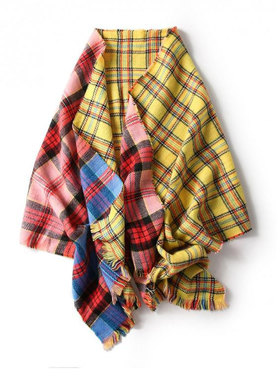shop Fringe Plaid Pattern Double Sided Long Scarf - RED