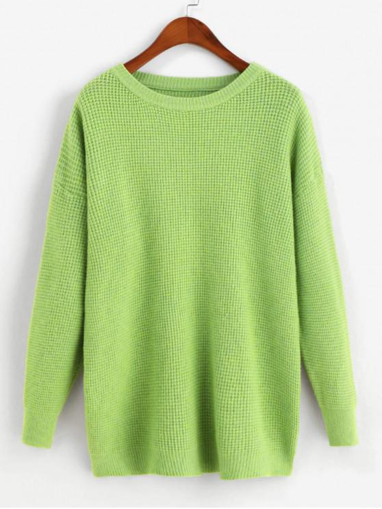 sale Drop Shoulder Loose Crew Neck Sweater - GREEN SNAKE ONE SIZE