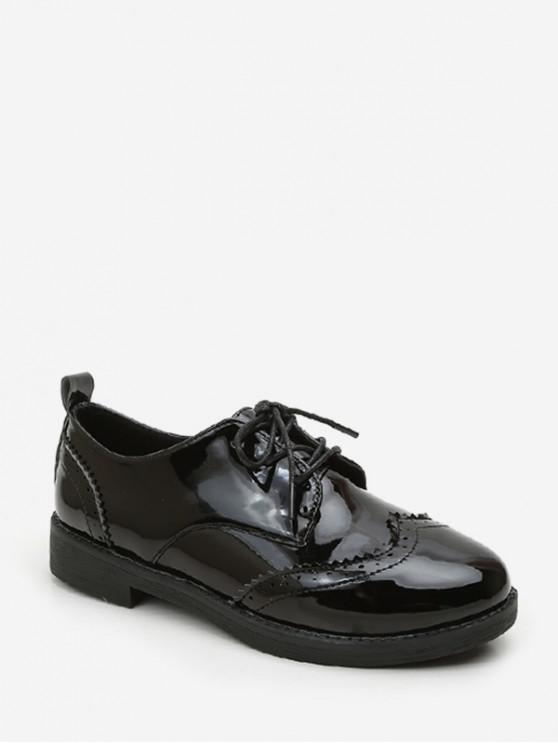 lady Solid PU Leather Vintage Casual Shoes - MIRROR BLACK EU 35
