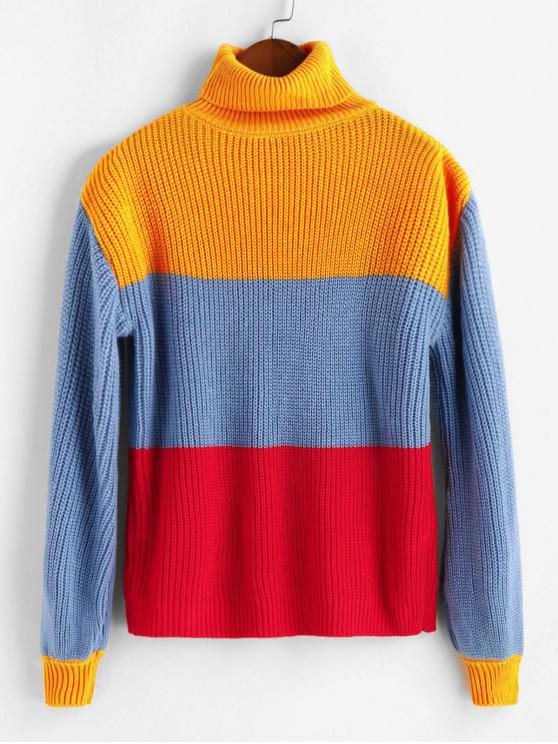 fashion Cable Knit Colorblock Turtleneck Sweater - MULTI S