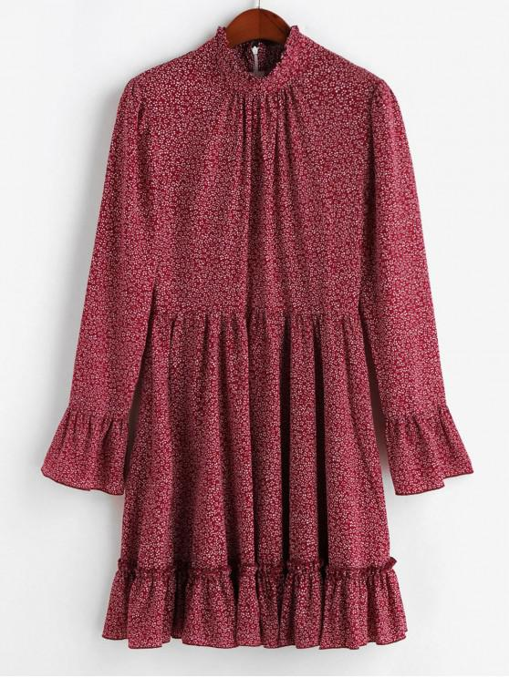 fancy ZAFUL Flounced Hem Ditsy Floral Poet Sleeve Mini Dress - RED WINE M