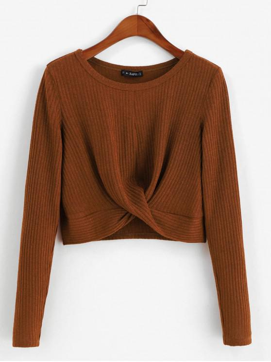 online ZAFUL Ribbed Twisted Long Sleeve Crop Tee - BROWN M