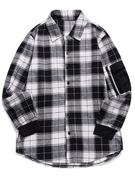 ladies Plaid Pattern Pocket Decorated Long-sleeved Shirt - BLACK M