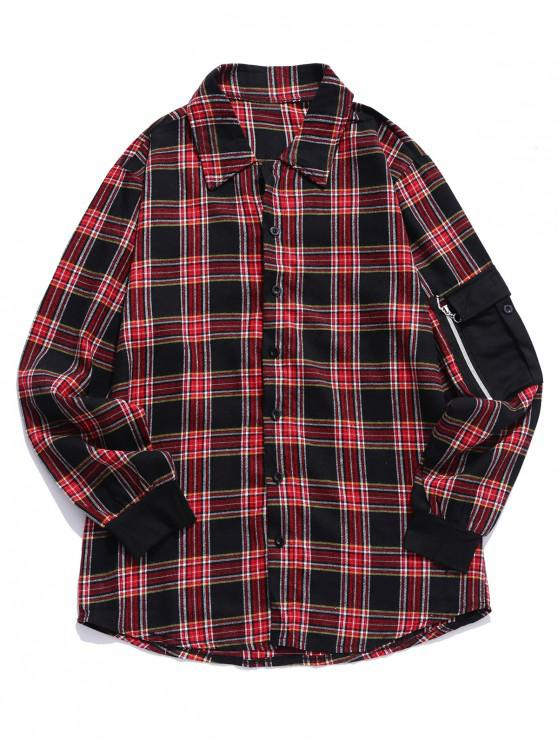 online Plaid Pattern Pocket Decorated Long-sleeved Shirt - LAVA RED 3XL