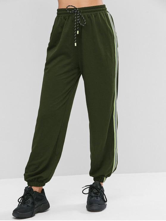 trendy ZAFUL Neon Reflective Side Drawstring Jogger Pants - ARMY GREEN L