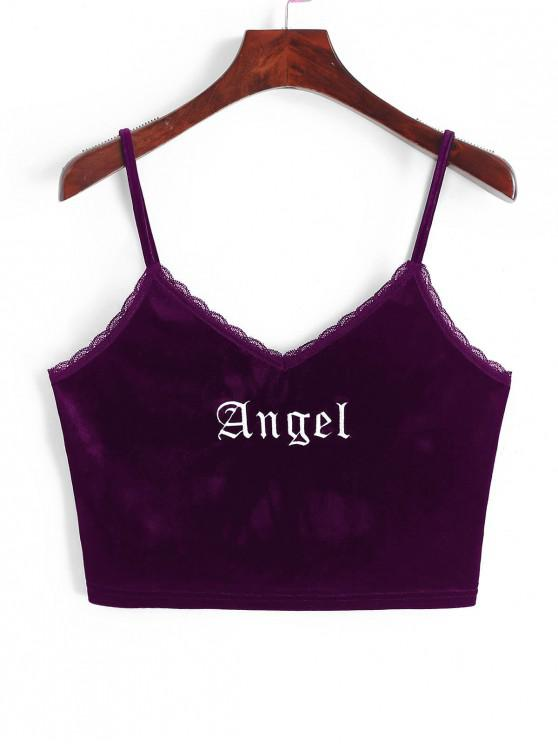 outfit ZAFUL Angel Embroidery Lace Trim Velvet Top - PLUM VELVET S