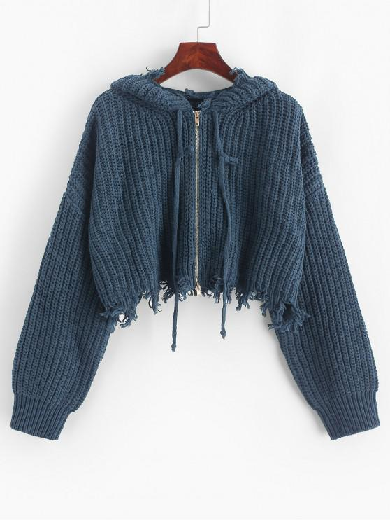 hot ZAFUL Hooded Zip Up Distressed Cropped Cardigan - SLATE BLUE S