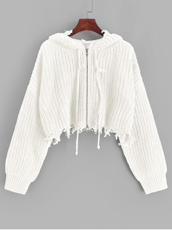 trendy ZAFUL Hooded Zip Up Distressed Cropped Cardigan - WHITE L