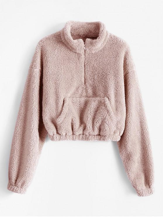 lady ZAFUL x Alexis Ricecakes Front Pocket Solid Crop Faux Fur Sweatshirt - PINK ROSE L