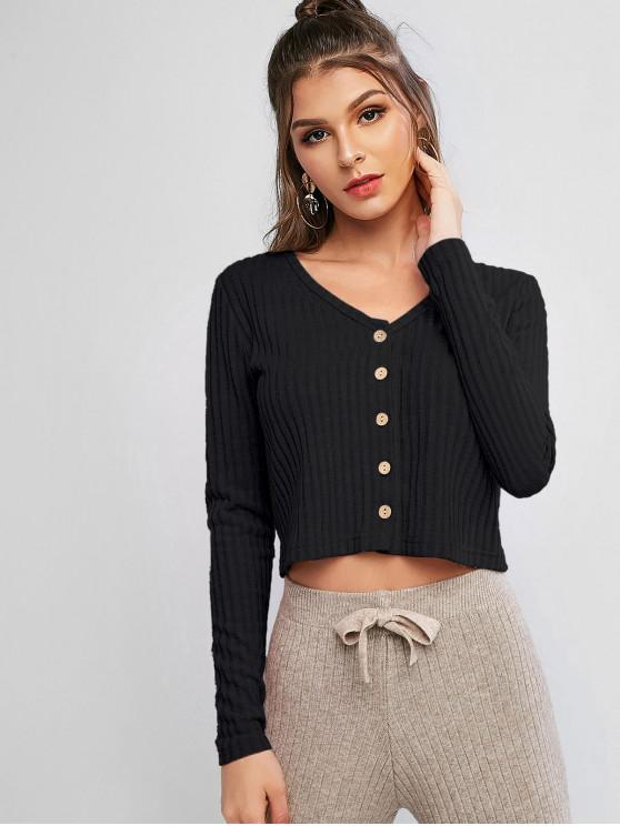 womens Solid Ribbed Button Up Cardigan - BLACK M