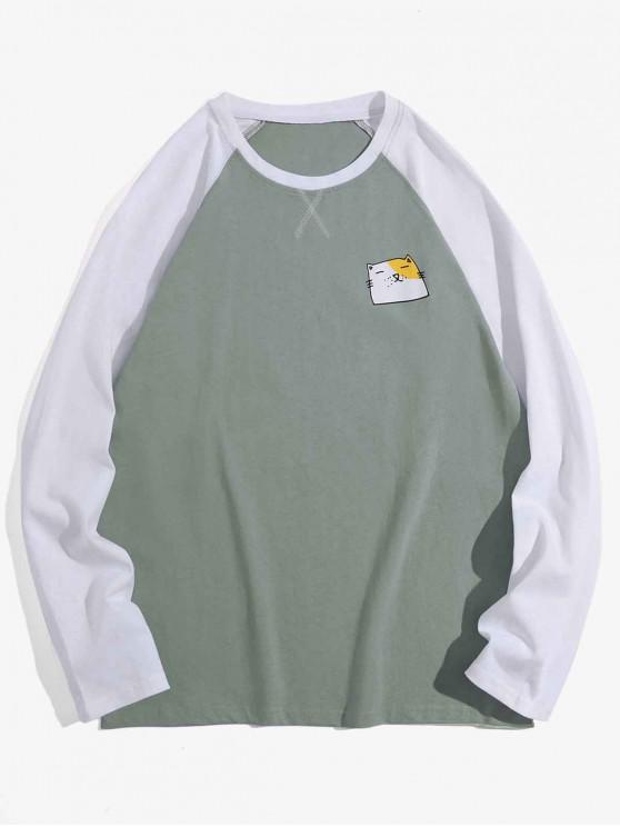 fancy Creative Animal Graphic Casual Long Sleeve T Shirt - LIGHT AQUAMARINE XL